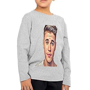 Jus_tin Bieber Unisex Children s T-Shirt Kids Youth T Shirt 2~6 Years Old Long Sleeve T-Shirts Tees for Boys Girls Tops 5-6X Gray