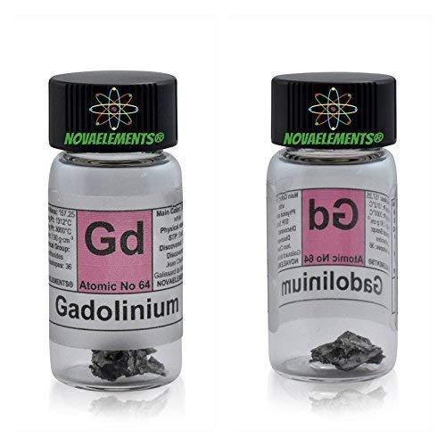 Gadolinium Element 64 GD, Meister Rein 1 Feingold 99,95% in Ampoule aus Glas mit Etikett