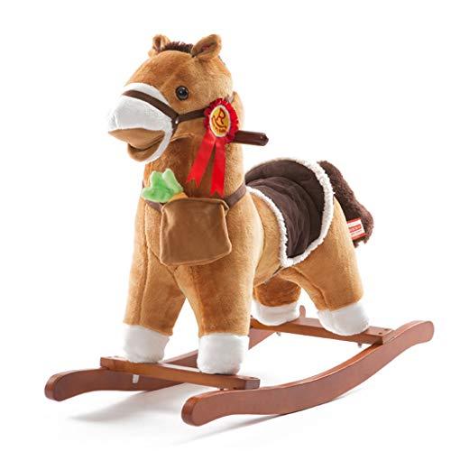 Shake bébé en bois cheval cheval à bascule solide bois musique bébé jouet cadeau d'anniversaire cadeau réaliste forme charge 50 KG 1-6 ans (Couleur : Yellow)