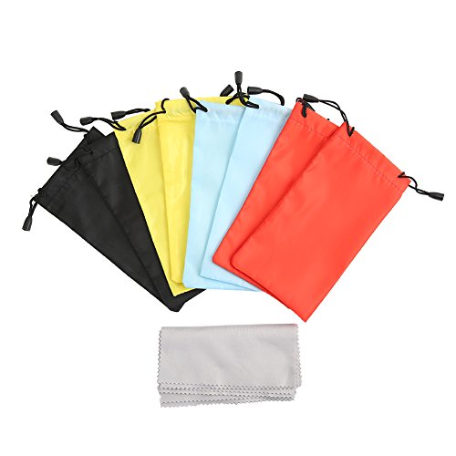 Shintop 8er Set Sonnenbrillen-Taschen, Weiche Taschen mit Zugverschluss, Dazu 8er Set Kostenlose Mikrofasertücher zum Putzen von Brillen, Geräten (Zufällige 4 Farben)