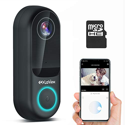 Laview WiFi Video Doorbell Camera, with 32GB SD Card, 1080P Video AI Human Detection, Night Vision, 2-Way Audio, IP65 Waterproof, Easy Installation (Requires Existing Doorbell Wires) USA Cloud Server
