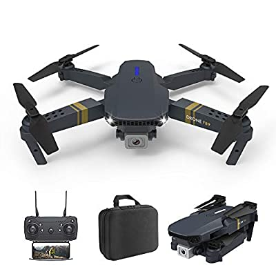 SZHR F89 Folding Mini Drone, with 4K HD Dual Cameras Suitable for Children and Adults, Long-Range Fixed-Height Quadcopter, Real-time Image Transmission, one-Key take-Off/Landing and Return, Black