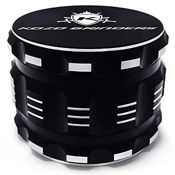 Kozo Best Herb Grinder [Upgraded Version] Large 4 Piece 2.5  Black Aluminum