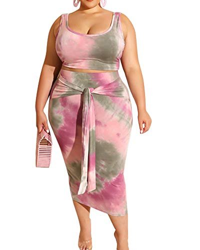 Plus Size Two Piece Sets Sleeveless Tie Dye Tank Crop Top Bodycon Midi Pencil Skirt Sets 2 Piece Club Outfits Summer Party Casual Beach Pink 4XL