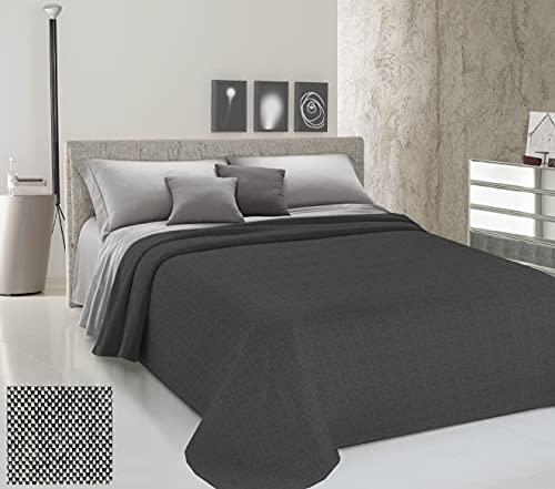 HomeLife Colcha para cama de matrimonio primaveral, de verano, de hilo teñido, 360 x 290 cm, fabricada en Italia, color liso, 100 % algodón, para cama de matrimonio, ligera, maxi antracita