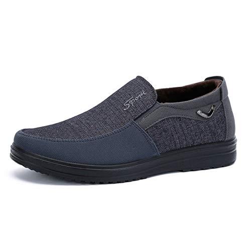 Mocasines para Hombre, Forro de Piel sintética, Otoño Invierno, Zapatos cálidos Resistentes al Desgaste, Zapatos Planos Informales de Uso Diario, Ligeros y Bajos