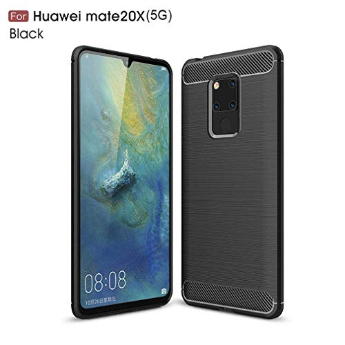 Preisvergleich Produktbild Dotuo Huawei Mate 20 X (5G) Hülle,  Huawei Mate 20 X (5G) Case Anti-Kratzen Schlagfesten Stoßstangen Carbon Silikon TPU Handyhülle Ultra Slim Schutzhülle für Huawei Mate 20 X (5G)