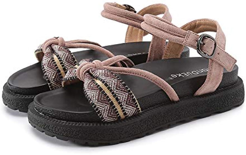 Shukun Sandalen für Damen Sandalen Weibliche Sommer Student Persnlichkeit Flache Unterseite Einfache Dicke Untere Wort Schnalle Rmische Schuhe
