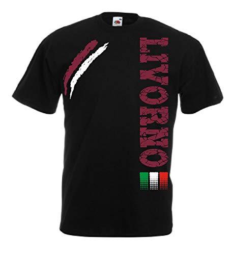 Generico t-Shirt Livorno Tifosi Ultras Calcio Sport dalla S alla 3XL e Taglie per Bambini(2 Anni, Nero)