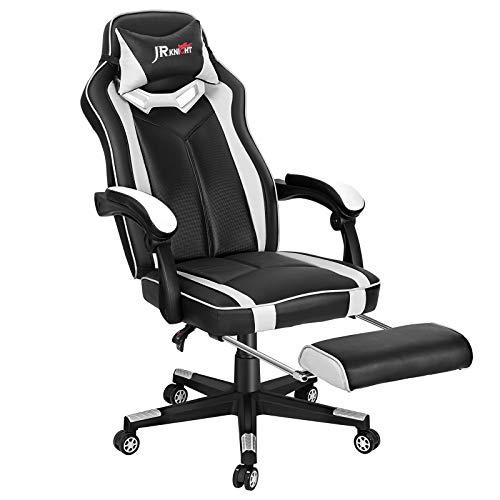 JR Knight Gaming Stuhl Bürostuhl Ergonomischer Schreibtischstuhl Chefsessel mit Armlehne Computerstuhl Racing Stuhl mit Kopfstütze und Fußstütze aus Kunstleder Weiß fürs Büro, Arbeitszimmer