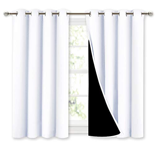 NICETOWN White 100% Blackout Curtains 45 inches Long, 2 Thick Layers Completely Blackout Window Treatment Thermal Insulated Lined Drapes for Small Window (1 Pair, 52 inches Width Each Panel)