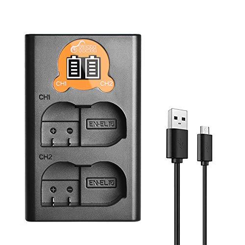 Pickle Power - Cargador de batería dual USB con pantalla LED compatible con Nikon EN-EL15 EN-EL15a y Nikon D7000, D7100, D7200, D850, D750, D7500, D810, D500, D800, D610, D600.