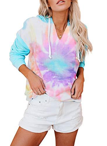BLENCOT Women's Lightweight Tie Dye Hoodie Sweatshirts Casual Long Sleeve Pullover Hooded Tops Shirt Sky Blue M