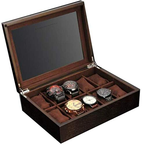 Men's Wooden Watch Box-Storage Box with Glass Locking Metal Clasp, 10 Watch Slots, Jewelry Performer Case, Gifts for Men and Women-A