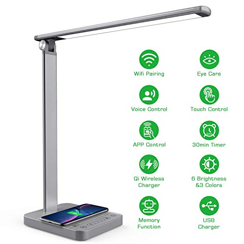 Smart LED Desk Lamp with Wireless Charger APP Voice Control, NAPATEK Eye Caring Desk Light Touch Control Multi-Level Brightness Timer Memory USB Port Compatible with Echo Alexa Google Home, Gray