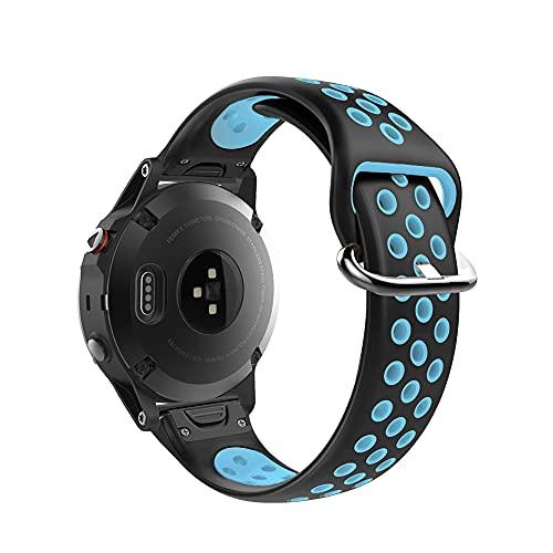 KINOEHOO Correas para relojes Compatible con Garmin Fenix 5/5 plus/Fenix 6/6 Pro Pulseras de repuesto.Correas para relojesde silicona(Azul negro)