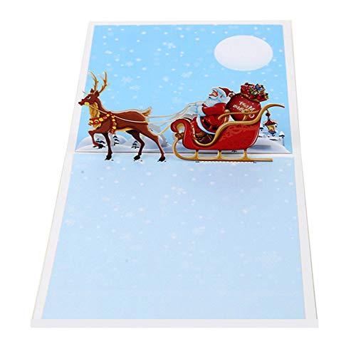 Aruie 3D-Glückwunschkarte aus Papier, Bedruckt, Hirsch, Weihnachtsmann Schlitten Merry Christmas Geschenk Party Weihnachten Segen Kreative Karte