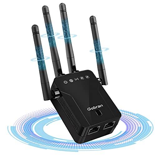 Repetidor WiFi,Amplificador Señal WiFi 1200 Mbps,Extensor de Red WiFi Banda Dual 5GHz y 2,4GHz,1 Puerto Ethernet, Soporte Ap / Repetidor / Modo Enrutador,Compatible con Todas Las Cajas de Inte