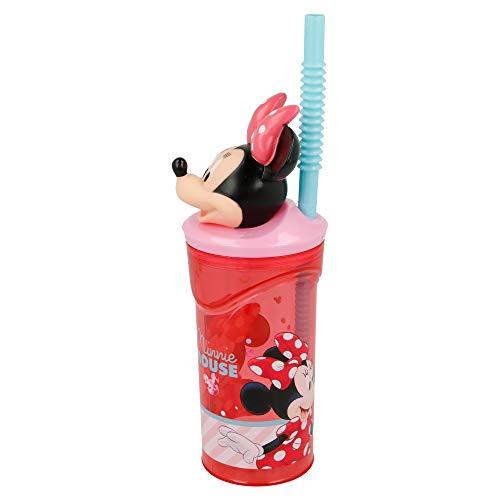 MINNIE MOUSE -DISNEY   Vaso para niños de plástico con pajita y tapa- diseño infantil con figurita 3D y capacidad de 360 ML - sin BPA