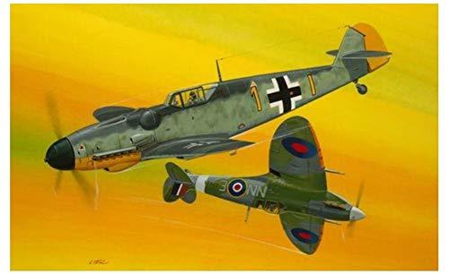 Revell 03710 Combat Set Bf109G-10 & Spitfire originalgetreuer Modellbausatz für Einsteiger, unlackiert