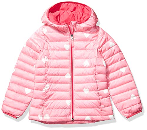 Amazon Essentials Hooded Puffer Jacket Giacca, Multicolore (Pink Heart), Large (Taglia Produttore:):)