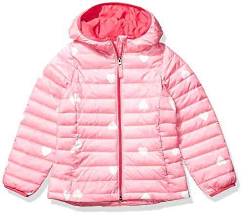 Amazon Essentials Hooded Puffer Jacket Chaqueta, Multicolor (Pink Heart), Medium (Talla del fabricante:):)