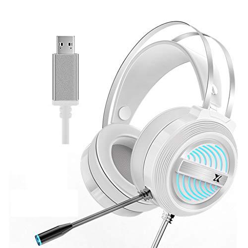 Yoking Gaming-Headset, Stereo, 7.1 Surround-Sound, mit Mikrofon, LED-Licht, atmungsaktiv, für PC/Laptop