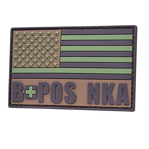2AFTER1 Multicam USA America Flag BPOS B+ B POS Blood Type NKA No Known Drug Allergies Tactical PVC Rubber Patch