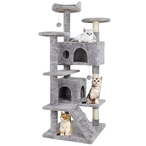 """Nova Microdermabrasion 53"""" Multi-Level Cat Tree Stand House Furniture Kittens Activity Tower with Scratching Posts Kitty Pet Play House (Light Grey)"""