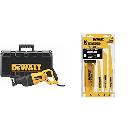 DEWALT DW311K 13-Amp Reciprocating-Saw with DEWALT DW4898 Bi-Metal Reciprocating Saw Blade Set with Case, 10-Piece