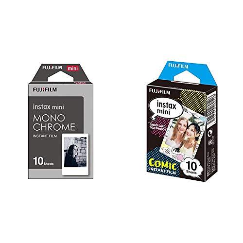 Fujifilm Instax Mini Monochrome - Película Instantánea + m Instax Mini - Película fotográfica, Cómic, Pack 10 películas