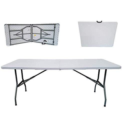 Living Equipment Mesa de picnic Mesas plegables para exteriores Mesa rectangular de plástico plegable en media mesa Capacidad de carga de 400 kg con pasadores de sujeción de acero Mesas portátiles