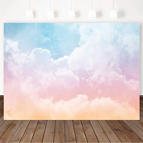 BewFar 8X6FT Rainbow Cloud Photography Backdrop Colorful Pastel Sun White Pink Clouds Abstract Sky Background for Wedding Party Fly Travel World Girl Birthday Cake Smash Supplies Photo Booth Prop