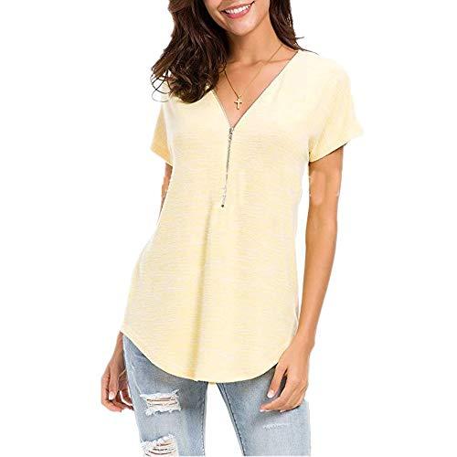 Camicia Donna Camicia Donna Estate Cerniera Profonda Scollo V Tinta Unita Maniche Corte Sottile Traspirante Top New 2020 Camicie Casual per Donna L