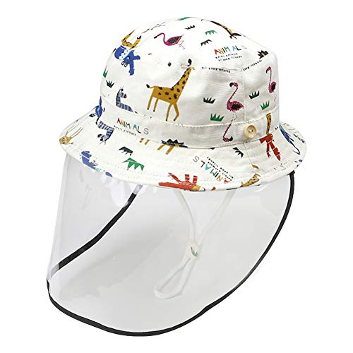 Happy Cherry Baby Cap with Removable Cover Cute Bucket Hat Face Shield Prevent Saliva Cold UPF 50+ Baptism Birthday Gift White