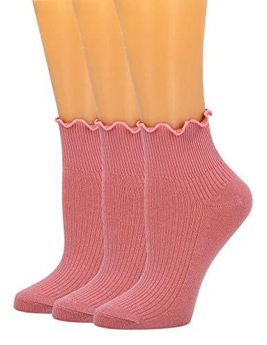 SEMOHOLLI Women Socks, Ruffle Turn-Cuff Ankle Crew Low Cut Casual Socks solid color Lace edge relent lady socks (3 Pairs-Dark pink)