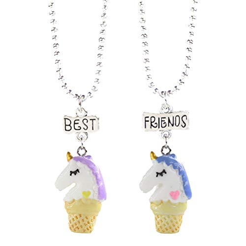 FENICAL 2 PCS Best Friends Forever Unicorn Ice Cream Colgante Collar para Niños Niños Amistad