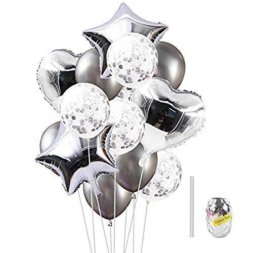 Huture 14PCS Globo de Látex de Globo de Confeti Globo Corazón Forma de Estrella Globo de Aluminio Globos Mylar Globos de Helio de Aluminio para Cumpleaños de Boda Decor de Baby Shower Niña, Plateado
