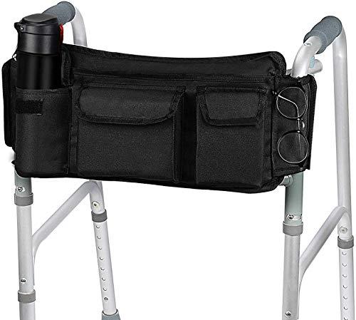 [Versión Revisada] SupreGear Walker Bag, Bolsa para Organizador Cesta Plegables para Cualquier Tipo Andador/Rollator/Silla de Ruedas, Gancho y Bucle Actualizado, Fácil Acceso Bolsillo Cremallera 🔥
