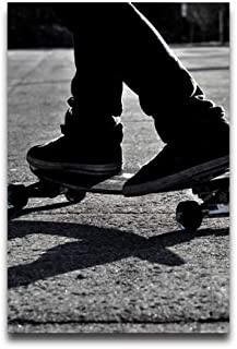 NewPostersWorld Black and White Skateboarding Customized Decorative Creative Art Posters Home Modern Decoration Print Decor for Living Room Custom Poster 16