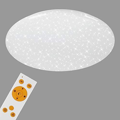 Briloner Leuchten LED Deckenleuchte, Deckenlampe mit Sternendekor, dimmbar, Fernbedienung, Nachtlichtfunktion, inkl. Farbtemperatursteuerung (3.000-6.500 Kelvin), Ø 56cm, 50 W, Weiß