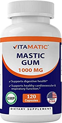Vitamatic Mastic Gum 1000mg per Serving - Support Digestive Function, Gastrointestinal Health, Immune and Oral Wellness, 120 Capsules