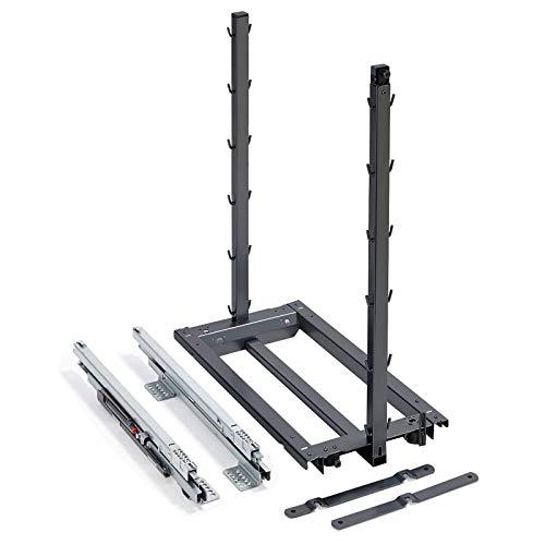 SOTECH Dispensa Junior III anthrazit Bodenmontage für 400 mm Unterschrank Auszugsrahmen Küchenschrankauszug
