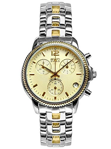 BWC-Swiss 210955214 - Reloj cronógrafo de cuarzo con correa de acero inoxidable para hombre