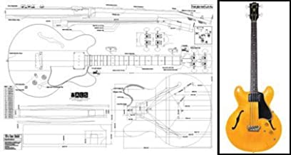 Amazon.com: Plan of Gibson EB-2 335-Style Hollowbody Bass - Full Scale  Print: Musical Instruments | Hollow Body Bass Guitar Wiring Diagram |  | Amazon.com