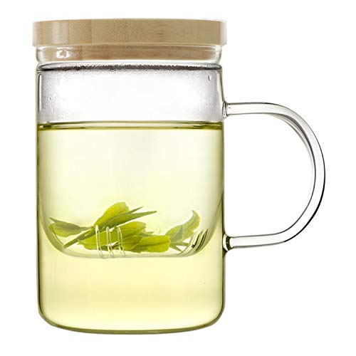 Emoi 15oz Teapot, Glass Brewing Tea Cup, Tea Infuser Mug, Premium Loose Leaf Flower Tea and Coffee Maker with Infuser Strainer, Bamboo Lid, Heat Resistant, Easy to Brew and Clean.(H1119)