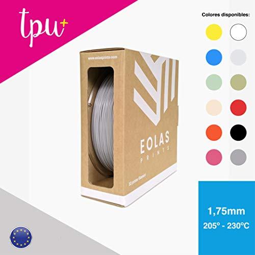 EOLAS 3D vollfarbendruck TPU+ Filament 1.75 mm Made in Europe, Food safe, Toys safe Certified (1 Kg Grau)