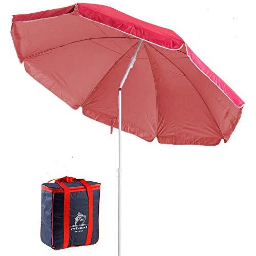 Arcoiris Sombrilla Playa con un Bolso Termico 4L, Parasol de Aluminio Protección Solar (180cm, Rojo)