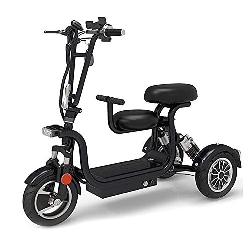 Scooter Eléctrico Plegable De 3 Ruedas, Compacto Ligero Portátil Accionado Por Triciclo Silla De Ruedas Viaje Movilidad Scooter Con Asiento Para Niños Para Adultos Mayores (Negro,48V13AH/65KM)