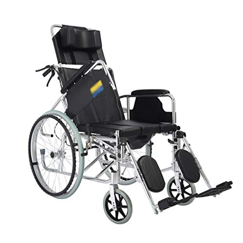 XINGZHE Sedia a rotelle, Sedia da Trasporto in Alluminio Leggera e maneggevole, bracciolo Staccabile con Schienale Alto con Padella, Sedile Pieghevole Pieghevole Larghezza 48 cm Sedia portantina